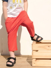 親子款~高含棉素色腰鬆緊休閒長褲