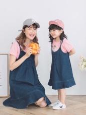 親子系列~高含棉傘擺丹寧吊帶裙