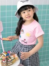 親子系列~高含棉彩虹字母燙印圖袖反褶上衣