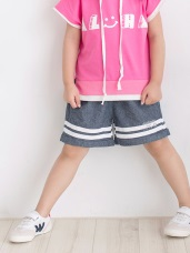 高含棉褲管雙白條造型反摺短褲