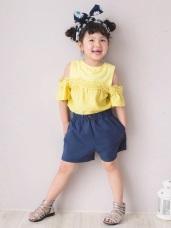 高含棉木紋釦造型A字短褲