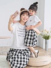 親子系列~格紋口袋造型高棉短裙