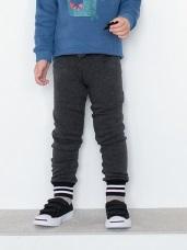親子款~內裡不倒絨褲管拼接條紋窄管縮口褲
