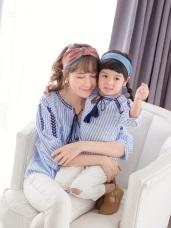 親子款~印花刺繡流蘇抽繩縮口袖上衣