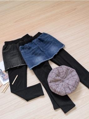 高含棉假兩件式牛仔裙x磨毛內搭褲