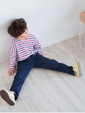 親子款~輕磨毛抽繩腰鬆緊口袋造型長褲