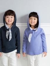 親子款~高含棉領口綁帶連帽衛衣/上衣