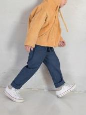 親子款~點點拼色腰鬆緊綁帶棉質休閒長褲
