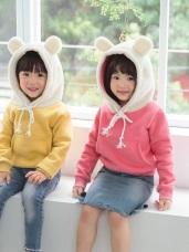 親子款~高含棉內磨毛小耳朵造型連帽上衣