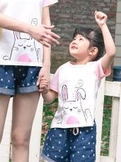 親子款~高含棉閉眼小兔印圖上衣