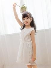 親子系列~高含棉腰抽繩雕花蕾絲洋裝
