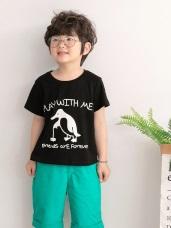 高含棉企鵝字母印圖上衣