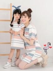 親子系列~粉彩條紋刺繡紅鶴高含棉洋裝