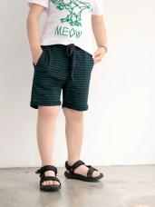 橫條紋拼接羅紋綁帶高含棉短褲