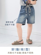 休閒抽繩口袋刷色高含棉牛仔短褲