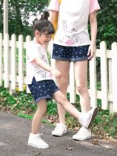 親子系列~星星印圖高含棉反摺牛仔短褲