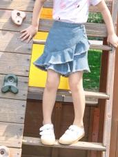 高棉不規則斜擺荷葉牛仔褲裙