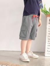 清爽織紋配色綁結高棉口袋短褲