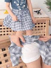 高含棉格紋傘擺綁帶造型褲裙