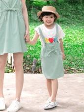 親子系列~純色腰抽繩綁帶高棉吊帶裙