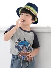 夏日遮陽配色紳士兒童草帽