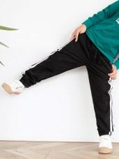 高含棉腰頭抽繩雙色織帶運動褲