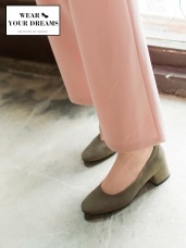 仿麂皮圓頭淑女低跟鞋