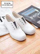 條紋拼接帆布懶人休閒鞋
