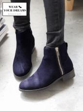絨面仿麂皮手感拉鍊短靴