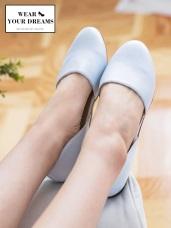 格紋/仿皮革平底淑女娃娃鞋