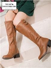 修飾美腿大筒圍仿皮革長靴