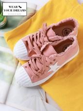 破損設計星星造型綁帶休閒帆布鞋