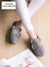 歐風釦環造型仿麂皮平底鞋