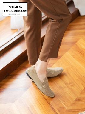 復古風格鉚釘造型仿麂皮平底鞋