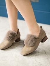 仿皮草設計人造麂皮低跟鞋