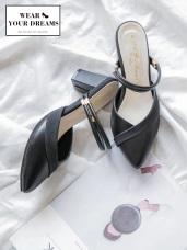台灣製造~異材質拼接仿皮革雙環粗跟涼鞋/拖鞋