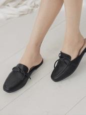台灣製造~簡約綁結仿皮革半拖鞋