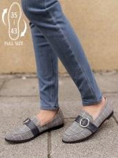 台灣製造~皮革裝飾格紋平底鞋