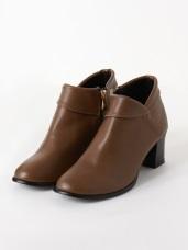 台灣製造~仿皮革反褶高跟短靴/踝靴