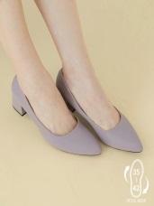 台灣製造~仿牛皮尖頭低跟鞋/全尺碼(35-42)
