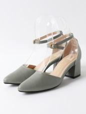 台灣製造~繫帶尖頭仿皮革素色跟鞋