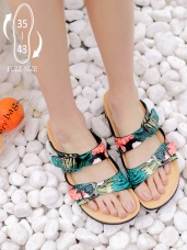 台灣製造~棕櫚葉/迷彩可調式真皮休閒拖鞋