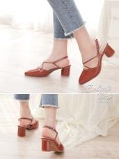 仿皮革尖頭可調繫帶粗跟涼鞋/跟鞋