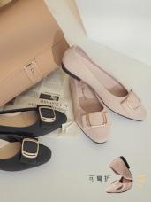 台灣製造~秀氣小方頭金屬裝飾絨面平底鞋