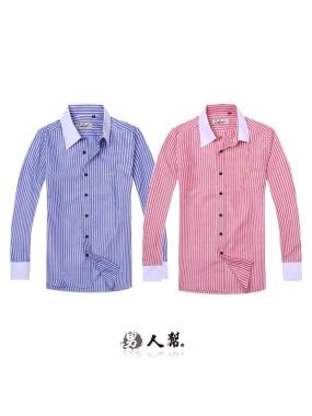 男人幫-S5163經典條紋造型長袖襯衫 牛津布