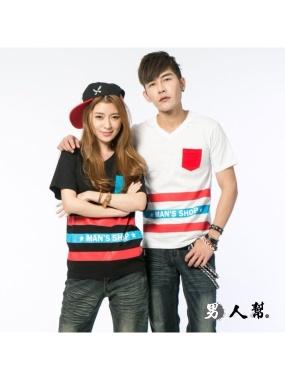 男人幫-新宿設計款口袋V領短袖T恤-棒球T純棉(T0955 )