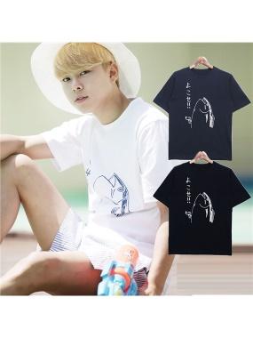 【下殺3折up】男人幫-潮流日式風格純棉日文點綴魚設計圖鴨T恤(T1350)