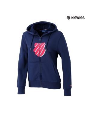 K-Swiss Shield Hoodie Jacket休閒連帽外套-女-藍