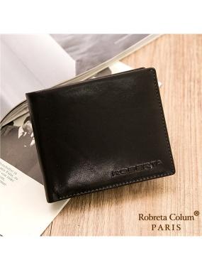 Roberta Colum-魅力無限牛皮款12卡2照可拆式有內拉鍊短夾共2色