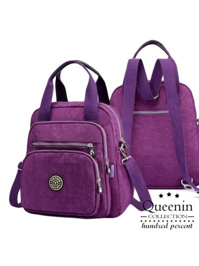 DF Queenin-輕盈百變女郎專用側背後背3用多口袋包-共3色